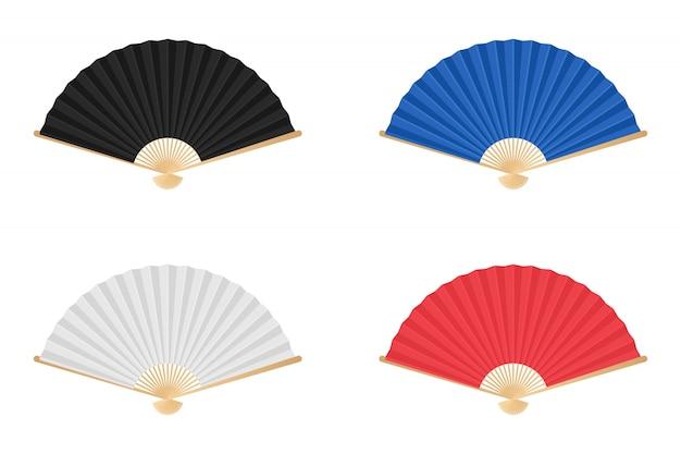 Illustrazione colorata del ventaglio pieghevole del giappone isolata su bianco