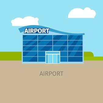 Illustrazione colorata della costruzione dell'aeroporto