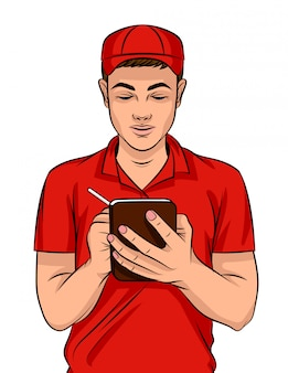 Illustrazione colorata di un giovane ragazzo in uniforme di consegna con una penna e un quaderno. un lavoratore di fast food in uniforme rossa prende appunti sull'ordine