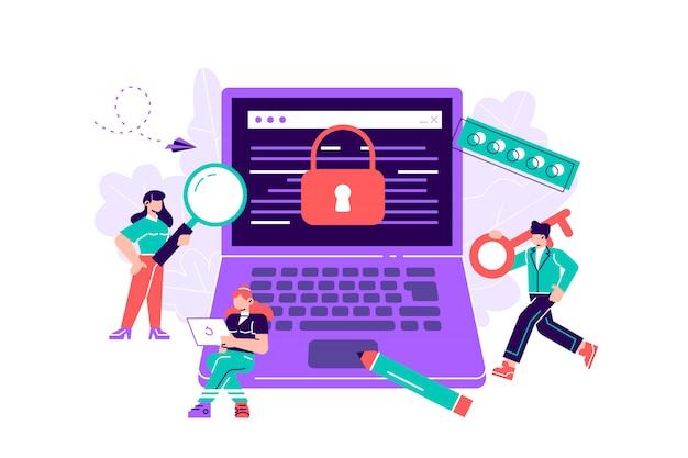 Illustrazione colorata, il concetto di protezione dei dati del computer per una pagina web, programmazione, programmazione, sviluppo di applicazioni, esporre. illustrazione di design moderno di stile piano per pagina web