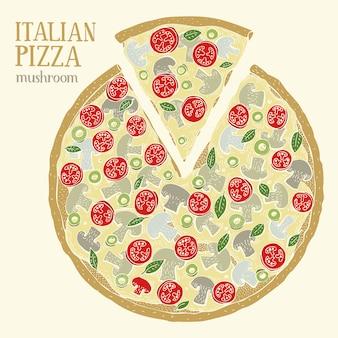 Illustrazione colorato di pizza italiana con funghi.