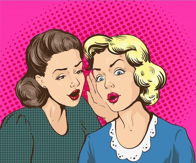 Illustrazione comica retrò pop art. donna che bisbiglia gossip o segreto alla sua amica