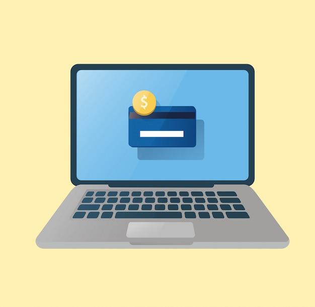 Illustrazione. computer portatile con carta di credito.