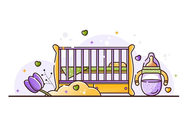 Illustrazione con accessori per bambini