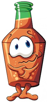 Illustrazione con bottiglia di cartone animato. emozione