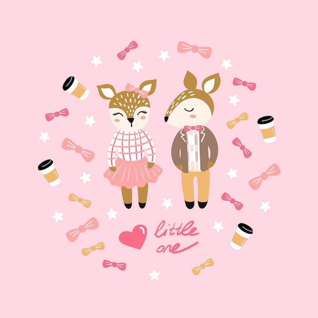 Illustrazione con chipmunk carino. amore, coppia.