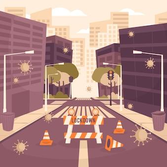 Illustrazione con città vuota