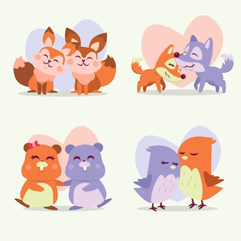 Illustrazione con collezione di animali di coppia