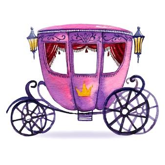 Illustrazione con disegno di carrozza da favola