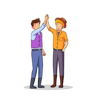 Illustrazione con due uomini che danno il livello cinque