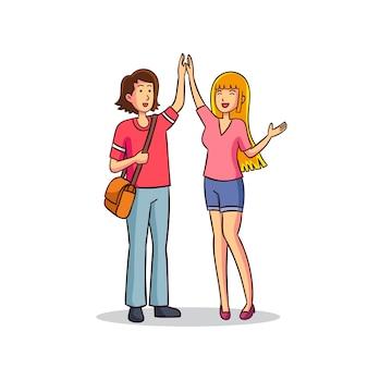 Illustrazione con femmine dando il cinque