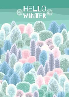 Illustrazione con foresta invernale.