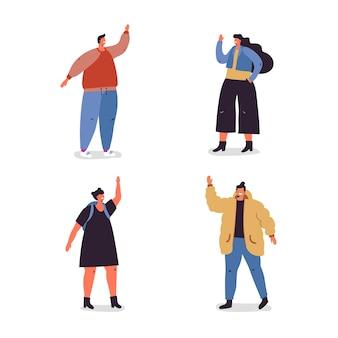 Illustrazione con gruppo di giovani agitando