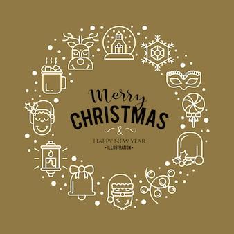 Illustrazione con icone di Natale. Design moderno e alla moda.