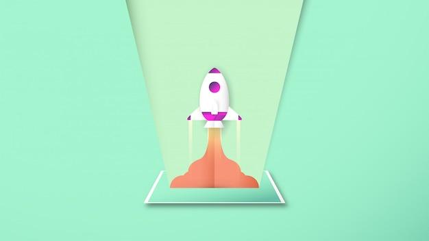 Illustrazione con il concetto di avvio in stile carta tagliata, artigianato e origami. il razzo sta volando.