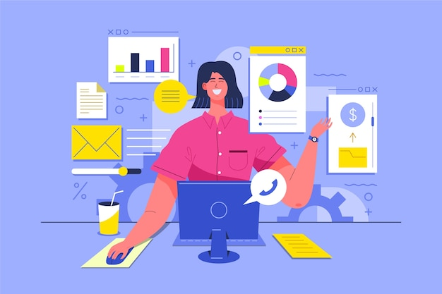 Illustrazione con il concetto di multitasking