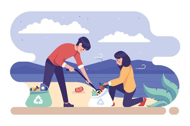 Illustrazione con la gente che pulisce concetto della spiaggia