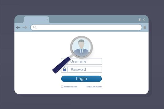 Illustrazione con laptop login utente blu. ,. illustrazione dell'icona del computer portatile.