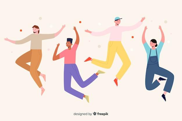 Illustrazione con personaggi che saltano