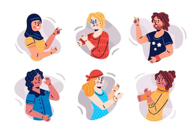 Illustrazione con persone che fanno capolino