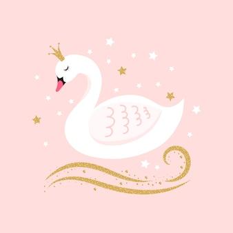 Illustrazione con principessa cigno