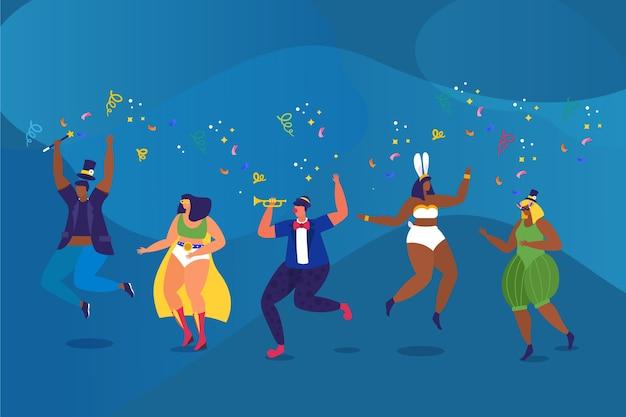 Illustrazione con raccolta di ballerini di carnevale