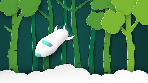 Illustrazione con start up concetto in carta tagliata, artigianato e stile origami. il razzo sta volando.