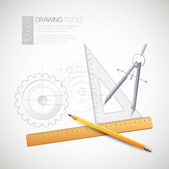 Illustrazione con strumenti di disegno