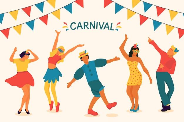 Illustrazione con tema di ballerini di carnevale