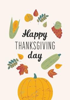 Illustrazione con testo felice giorno del ringraziamento.