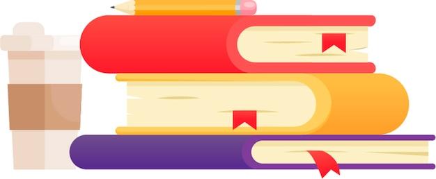 Illustrazione con tre libri di diversi colori. colpi di caffè e polaroid.