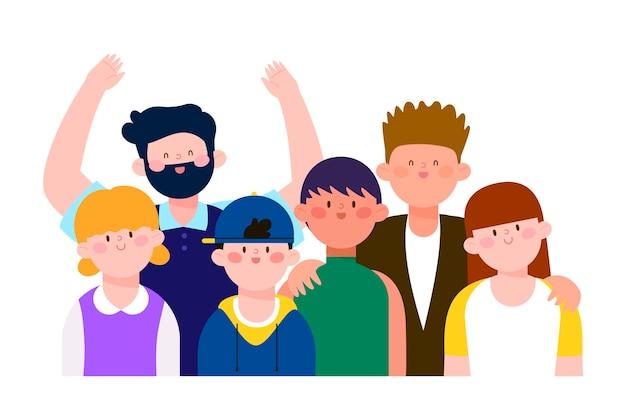 Illustrazione con un gruppo di persone concetto