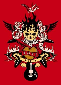 Illustrazione con una chitarra elettrica e tatuaggio teschio umano, revolver, rose e note musicali