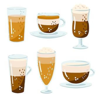 Illustrazione con varietà di caffè