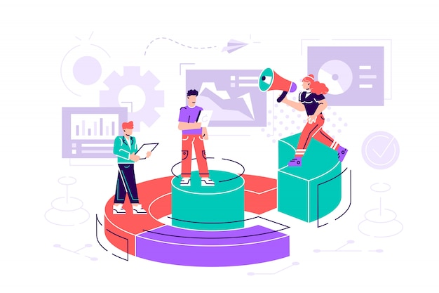 Illustrazione, concetto di gestione finanziaria, statistiche e relazione d'affari, piccole persone come puzzle raccolgono infografica. illustrazione di stile moderno design piatto per pagina web, carte