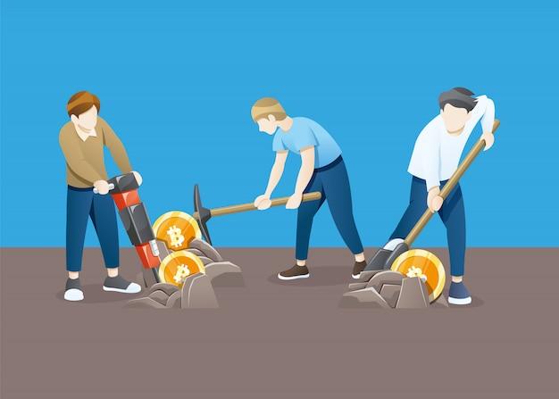 Illustrazione concetto di mining bitcoin