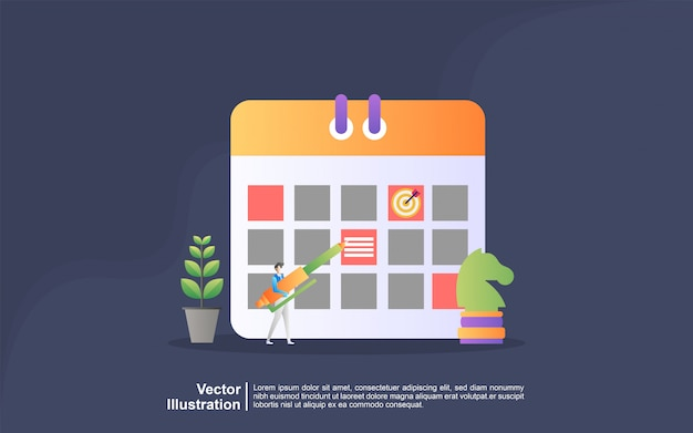 Illustrazione concetto di pianificazione. le persone fanno una pianificazione di pianificazione del piano, business planning, to do list. può usare per, landing page, template, interfaccia utente, web, app mobile, banner