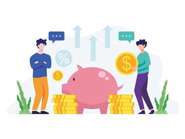 Illustrazione concetto di risparmio di denaro