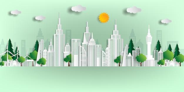 Illustrazione. concetto ecologico, la città verde salva il mondo