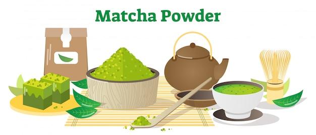 Illustrazione concettuale della polvere di tè di matcha