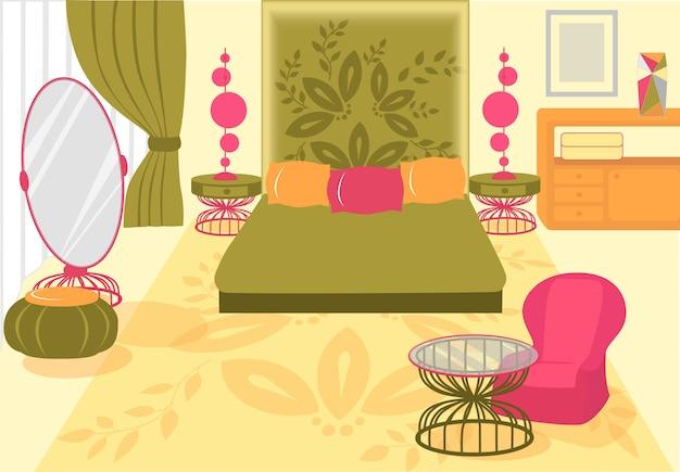 Illustrazione confortevole bella camera da letto.