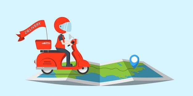 Illustrazione consegna giro servizio di motocicletta simpatico personaggio con mappa, ordina molte filiali spedizione in tutto il mondo, trasporto veloce e gratuito, cibo espresso, shopping di cartoni animati online