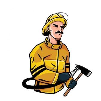 Illustrazione coraggiosa del carattere del pompiere