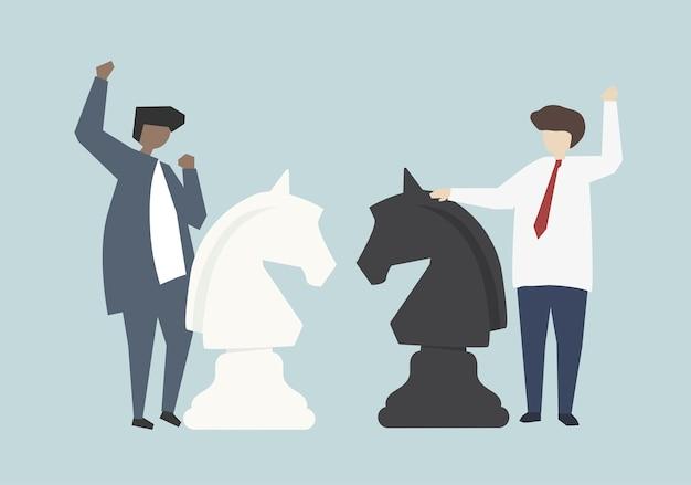 Illustrazione corporativa di concetto di strategia di successo degli uomini d'affari