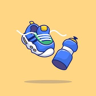 Illustrazione corrente dell'icona di vettore del fumetto dell'acqua di bottiglia minerale e della scarpa da tennis. vettore premio isolato concetto dell'icona di sport. stile cartone animato piatto