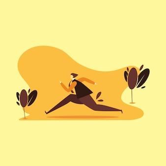 Illustrazione corrente dell'uomo con fondo arancio