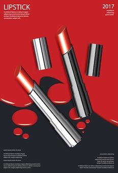 Illustrazione cosmetica del rossetto del manifesto