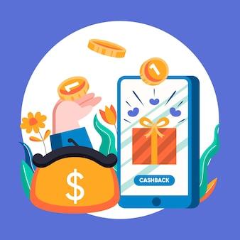 Illustrazione creativa del concetto di cashback con il telefono app