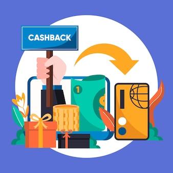 Illustrazione creativa del concetto di cashback