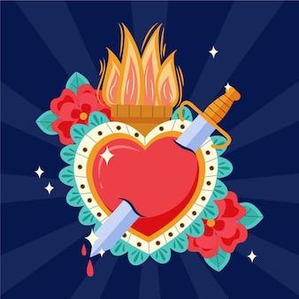 Illustrazione creativa del cuore sacro